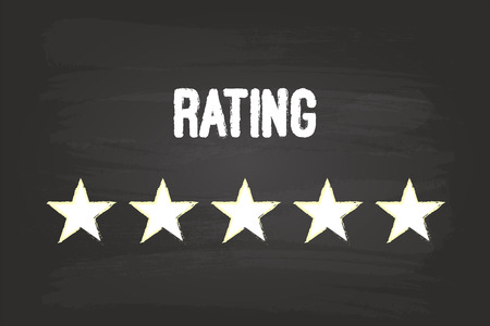 Five Star Rating On Blackboard With White Chalk Vector
