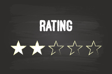 Two Star Rating On Blackboard With White Chalk Vector