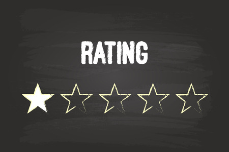 One Star Rating On Blackboard With White Chalk Vector