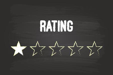 star rating: Valutazione Una Stella sulla lavagna bianca con gesso