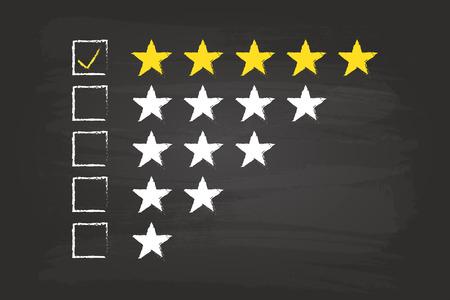 Five Star Rating Checkliste an Tafel Vektorgrafik