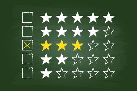 star rating: Tre Stelle clienti Commenti sulla scheda verde