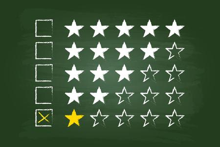star rating: Una Stella Valutazione clienti Commenti sulla scheda verde Vettoriali