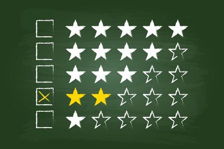 star rating: Due Stelle clienti Commenti sulla scheda verde Vettoriali