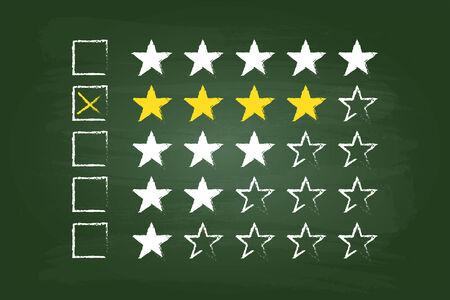 star rating: Quattro Stelle clienti Commenti sulla scheda verde