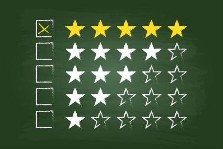 star rating: Cinque Stelle clienti Commenti sulla scheda verde Vettoriali