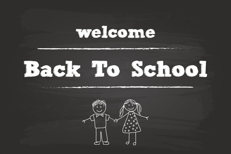Welcome Back To School Children Sign On Blackboard Vector