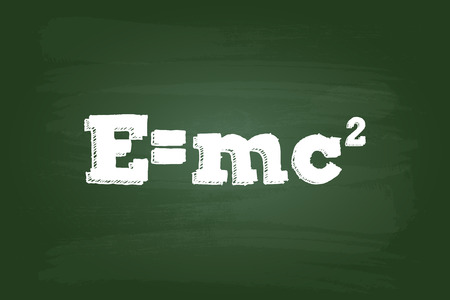 Einstein Theory Of Relativity Formula On Green Board Vector