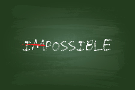 green board: Impossible Is Possible Concept On Green Board Illustration