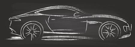 racing sign: Sports Car Sketch On Blackboard