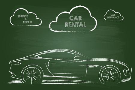 Autovermietung Dienstleistungen Sketch On Green Foren Vektorgrafik