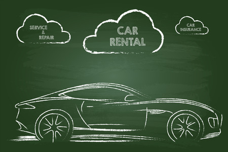 Car Rental Services Sketch On Green Board