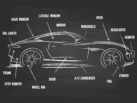 Car Parts Sketch On Blackboard Stock Vector - 31590995