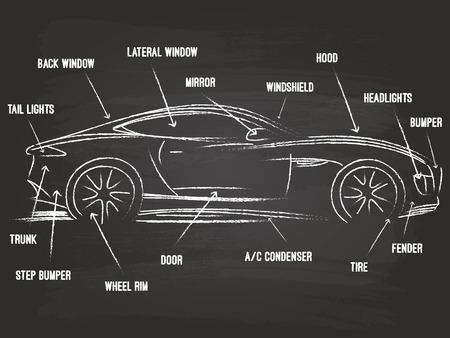 repuestos de carros: Piezas de coches Boceto En La Pizarra Vectores