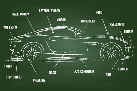 automotive repair: Car Parts Sketch On Green Board