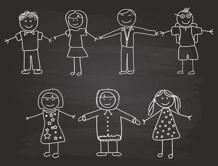 Happy Children esquisse sur l'école Blackboard Banque d'images - 31590999