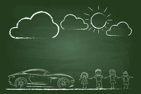 dirty car: Happy Family Sketch With Sports Car On Green Board