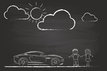 Happy Couple Sketch With Sports Car On Blackboard Vector