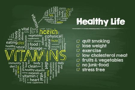 Healthy Life Steps Gráfico Con Vitaminas nube de la palabra de Apple en la placa verde Ilustración de vector