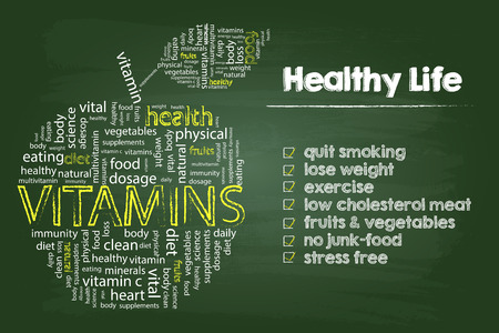 living: Healthy Life Steps Graphic With Vitamins Word Cloud Apple On Green Board