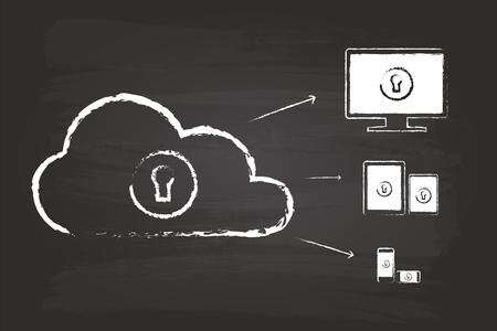 Cloud Security Diagram Sketch Concept On Blackboard Vector