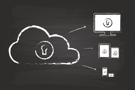 Cloud Security Diagram Sketch Concept On Blackboard Vector