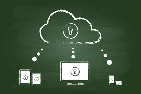Cloud Security Diagram Sketch Concept On Green Chalkboard Vector