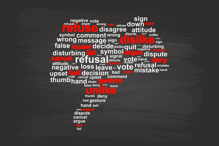 refuse: Thumbs Down Refuse Word Cloud Vector On Blackboard