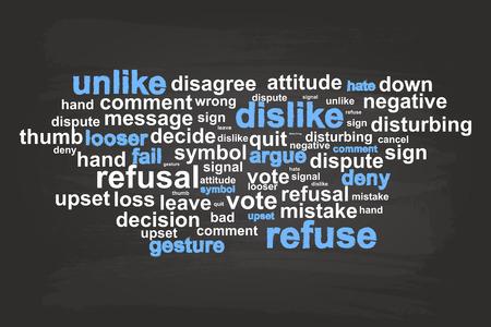 refuse: Refuse Word Cloud Vector On Blackboard