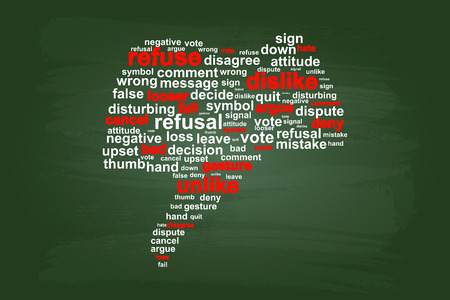 refuse: Thumbs Down Refuse Word Cloud Vector On Green Chalkboard