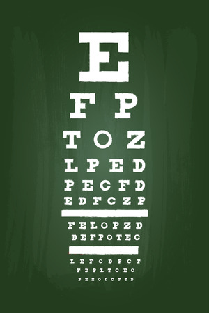 black board: Eye Chart Test For Medical Use On Green Chalkboard
