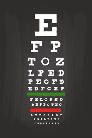 snellen: Eye Chart Check Up Test For Medical Use On Green Blackboard