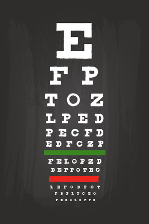 Eye Chart Check Up Test For Medical Use On Green Blackboard