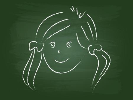 Children Sketch Of Girl Portrait On Green Board Vector Vector