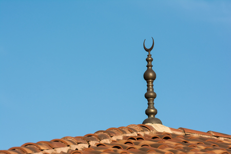 crescent moon: Islamic Religion Crescent Moon Sign On Mosque Stock Photo