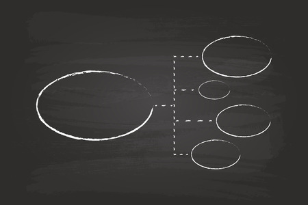 Business Strategy Flow Chart Circles Hand Drawn On Blackboard Vector