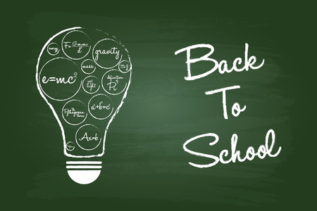 equations: Back To School Concept On Green Chalkboard With Math Equations Light Bulb Illustration