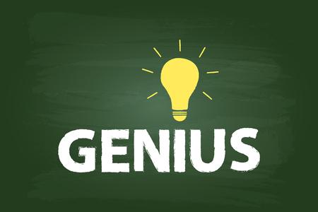 green chalkboard: Genius Idea Light Bulb Concept On Green Chalkboard