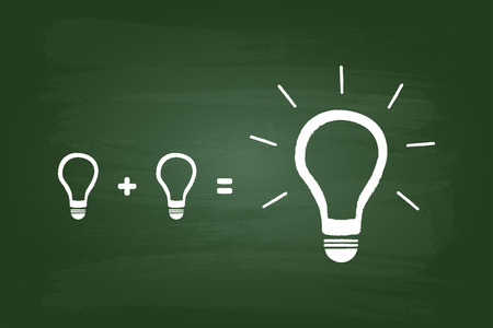 green chalkboard: Best Idea Comes From Small Ideas And Teamwork Concept On Green Chalkboard Illustration