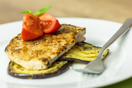 egg plant: Grilled Egg Plant Slice With Pork Steak And Sliced Tomatoes