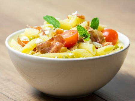 Italian Pasta Salad With Mozzarella, Bacon And Tomatoes photo