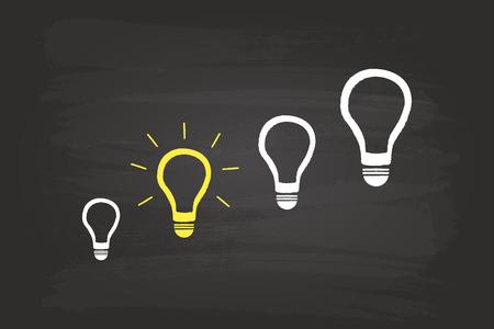 Brilliant Idea Light Bulb Concept On Blackboard Vector