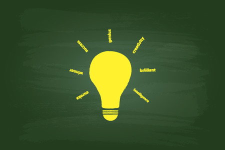 light classroom: Idea Light Bulb Concept On Green Chalkboard Illustration