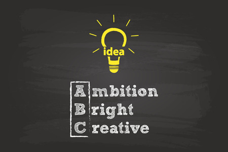 Ambition, Brightness And Creativity The ABC Of A Brilliant Idea Vector