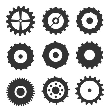 Gears Icons Set Vector Isolated On White Vector