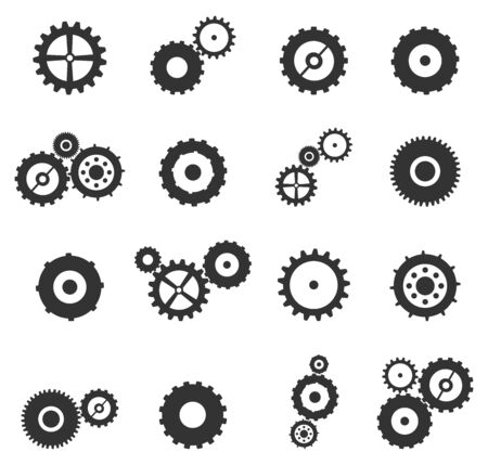 Gears And Cog Wheels Icons Set Vector Isolated On White Vector