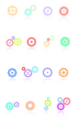 Colored Gears Icons Set Vector Vector