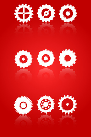 Gears And Cog Wheels Icons Set Vector With Reflection Vector