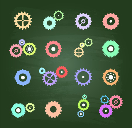 cog wheels: Colored Cog Ruedas Conjunto de iconos en verde pizarra