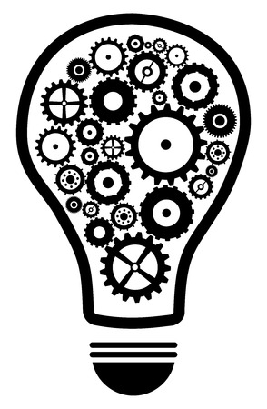 Idea Light Bulb With Gears And Cog Wheels Concept Isolated